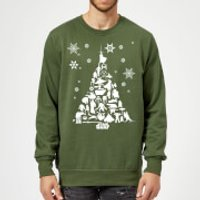 Star Wars Character Christmas Tree Green Christmas Sweatshirt - XXL - Green