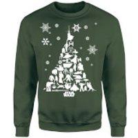 Star Wars Character Christmas Tree Green Christmas Sweatshirt - S - Green