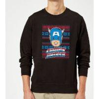 Marvel Comics Captain America Christmas Knit Black Christmas Sweatshirt - S - Black