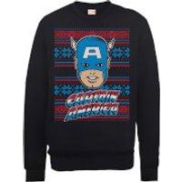 Marvel Comics Captain America Christmas Knit Black Christmas Sweatshirt - M - Black
