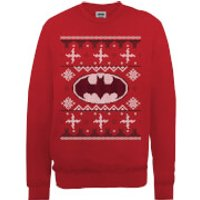 DC Batman Christmas Knit Logo Red Christmas Sweatshirt - S - Red