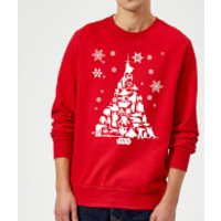 Star Wars Character Christmas Tree Red Christmas Sweatshirt - L - Red