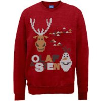 Disney Frozen Christmas Olaf And Sven Red Christmas Sweatshirt - S - Red