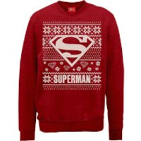 DC Superman Christmas Knit Logo Red Christmas Sweatshirt - S - Red