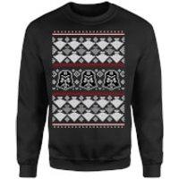Star Wars Christmas Darth Vader Imperial Starship Knit Black Christmas Sweatshirt - M - Black