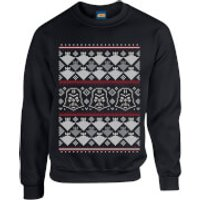 Star Wars Christmas Darth Vader Imperial Starship Knit Black Christmas Sweatshirt - M - Black