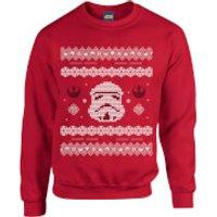Star Wars Christmas Stormtrooper Knit Red Christmas Sweatshirt - S - Red