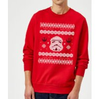 Star Wars Christmas Stormtrooper Knit Red Christmas Sweatshirt - L - Red