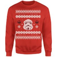 Star Wars Christmas Stormtrooper Knit Red Christmas Sweatshirt - S - Red