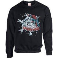 Marvel Comics The Amazing Spiderman Snowflake Web Black Christmas Sweatshirt - M - Black