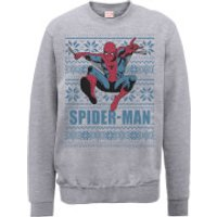 Marvel Comics Spiderman Leap Knit Grey Christmas Sweatshirt - S - Grey