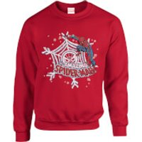 Marvel Comics The Amazing Spider-Man Snowflake Web Red Christmas Sweatshirt - M - Red