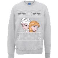 Disney Frozen Christmas Elsa And Anna Grey Christmas Sweatshirt - L - Grey
