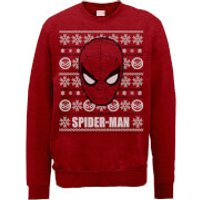 Marvel Comics The Amazing Spiderman Face Red Christmas Sweatshirt - S - Red