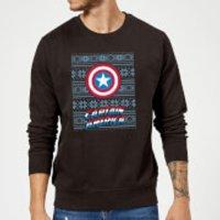 Marvel Comics Captain America Caps Shield Black Christmas Sweatshirt - S - Black