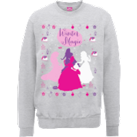 Disney Princess Christmas Princess Silhouettes Grey Christmas Sweatshirt - L - Grey