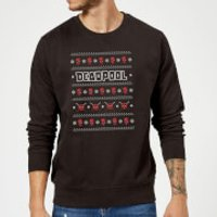 Marvel Deadpool Black Christmas Sweatshirt - L - Black