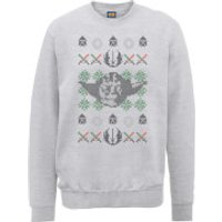 Star Wars Yoda Face Knit Grey Christmas Sweatshirt - S - Grey