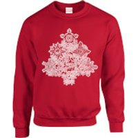 Marvel Comics Marvel Shields Christmas Tree Red Christmas Sweatshirt - L - Red