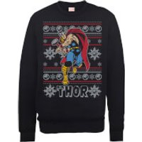 Marvel Comics The Mighty Thor Christmas Knit Black Christmas Sweatshirt - XXL - Black