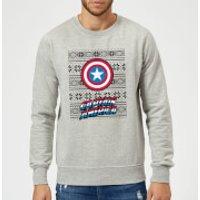 Marvel Comics Captain America Caps Shield Grey Christmas Sweatshirt - S - Grey