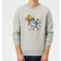 Star Wars Tangled Fairy Lights Droids Grey Christmas Sweatshirt - XL - Grey