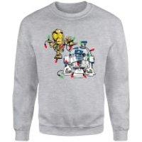 Star Wars Tangled Fairy Lights Droids Grey Christmas Sweatshirt - L - Grey