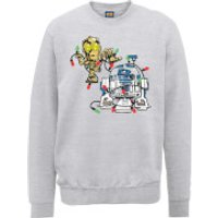 Star Wars Tangled Fairy Lights Droids Grey Christmas Sweatshirt - XXL - Grey