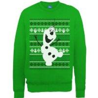 Disney Frozen Christmas Olaf Dancing Green Christmas Sweatshirt - S - Green