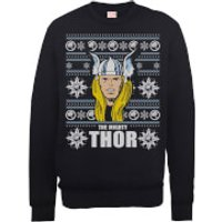 Marvel Comics The Mighty Thor Face Christmas Knit Black Christmas Sweatshirt - XL - Black