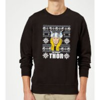 Marvel Comics The Mighty Thor Face Christmas Knit Black Christmas Sweatshirt - S - Black