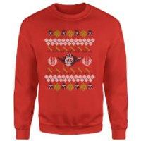 Star Wars Yoda Sabre Knit Red Christmas Sweatshirt - S - Red