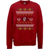 Star Wars Yoda Sabre Knit Red Christmas Sweatshirt - M - Red