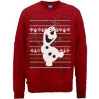 Disney Frozen Christmas Olaf Dancing Red Christmas Sweatshirt - S - Red