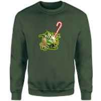 Star Wars Candy Cane Yoda Green Christmas Sweatshirt - M - Green