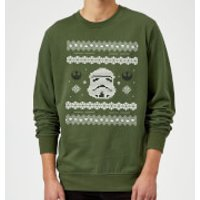 Star Wars Christmas Stormtrooper Knit Green Christmas Sweatshirt - S - Green