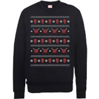 Marvel Deadpool Christmas Faces Black Christmas Sweatshirt - S - Black