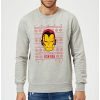Marvel Comics The Invincible Ironman Face Grey Christmas Sweatshirt - M - Grey
