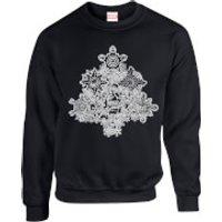 Marvel Comics Marvel Shields Christmas Tree Black Christmas Sweatshirt - L - Black