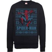 Marvel Comics Spiderman Leap Knit Black Christmas Sweatshirt - S - Black