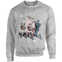 DC Comics Originals Batman And Robin Santa Claus Grey Christmas Sweatshirt - M - Grey