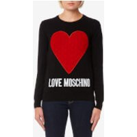Love Moschino Women's Heart Logo Jumper - Black - IT 40/UK 8 - Black