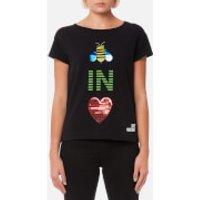 Love Moschino Womens Bee In Love T-Shirt - Black - IT 44/UK 12 - Black