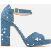 Rupert Sanderson Women's Savanna Platform Heeled Sandals - White Splash Denim - UK 3 - Blue
