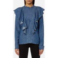 Gestuz Womens Cyndie Denim Blouse with Ruffle Detail - Denim Blue - EU 38/UK 10 - Blue