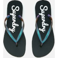 Superdry Womens Super Sleek Flip Flops - Black/Petrol - S (UK 3-4) - Black