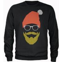 Hipster Santa Glitter Beard Black Christmas Sweatshirt - M - Black - Hipster Gifts