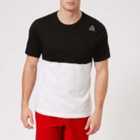 Reebok Mens Colour Block Short Sleeve T-Shirt - Black/White - XXL - Black