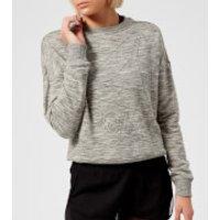 Reebok Womens Marble Logo Crew Neck Sweatshirt - Medium Grey Heather - S - Grey