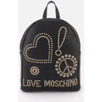 Love Moschino Womens Studded Logo Backpack - Black